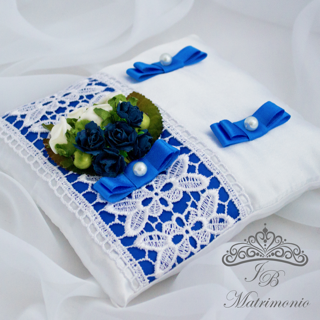 Cuscino Portafedi Bianco E Blu.Cuscino Nuziale Portafedi Misterioso Blu Jb Matrimonio